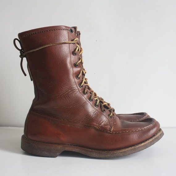 sz 8 5 vintage brown leather combat boots by nstylevintage