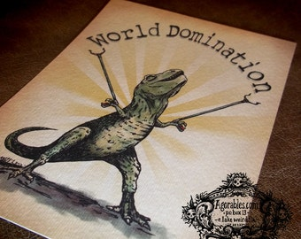 "Mighty T Rex Dino ""World Domination"" Art Print 5x7 By Agorables Tyrannosaurus Rex Dinosaur"