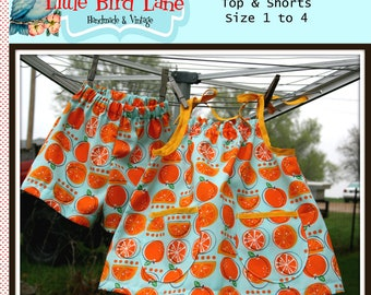 Instant Download The 1 Yard Swing Set Top and Shorts PDF Sewing Pattern DIY Tutorial Little Bird Lane Size 1 to Size 4