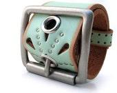 Leather Cuff Mini-Belt Studded Seafoam with Silver Buckle, Unisex, Adjustable, OOAK