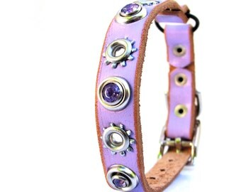 Rustic Lavender Leather Cat Collar with Purple Rhinestones and Industrial Flowers, Size to fit a 8-10in Neck, Cat Collar Leather