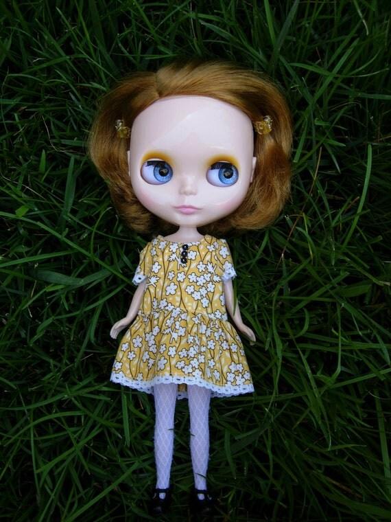 Drop Waist Blythe Dress - Yellow Reproduction Flour Sacking