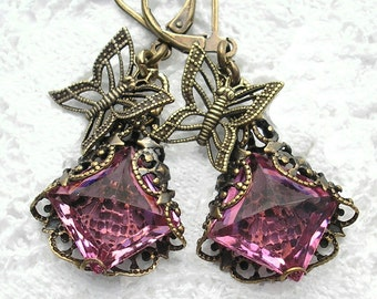 Rosy Wings - Filigree Wrapped Rose Glass Jewel Earrings with Butterflies