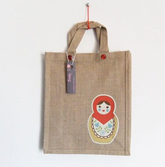 Sale - Babushka Burlap / Jute bag - Natural jute - Red doll.