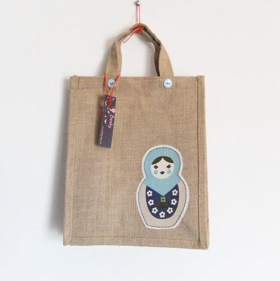 Sale - Babushka Burlap / Jute bag - Natural jute - aqua and navy doll.