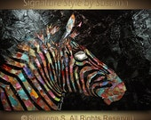 RESERVED for SABINA only - Original Zebra Painting abstract contemporary metallic palette knife impasto fine art by Susanna 36x24