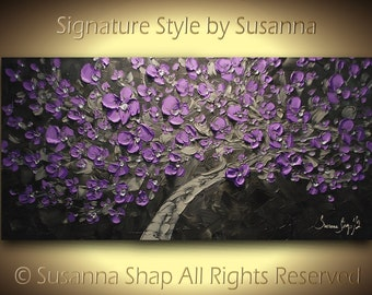 ORIGINAL Large Abstract Contemporary Purple Plum Cherry Blossom Tree Painting Thick Texture Gallery Fine Art Ready to Hang 48x24