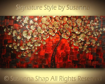 Large Palette Knife Modern Art Textured Landscape Abstract Painting ORIGINAL Gold Red Tree Painting by Susanna 48x24