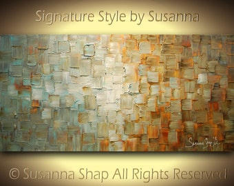 Original Large Abstract Fine Art on Canvas Textured Sea foam Blue Grey Beige Rust Moden Palette Knife Painting 48x24 by Susanna