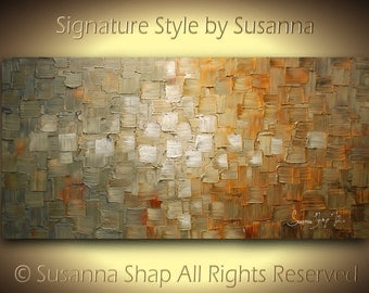 Original Large Abstract Fine Art on Canvas Textured Grey Beige Rust Moden Palette Knife Painting Ready to Hang 48x24 by Susanna