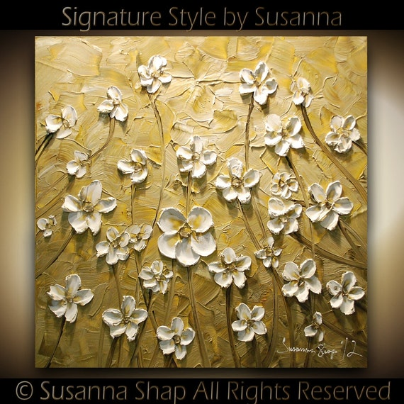 ORIGINAL Large Impasto Landscape Abstract Cream Beige White Flowers Oil Painting Modern Palette Knife Art by Susanna 24x24