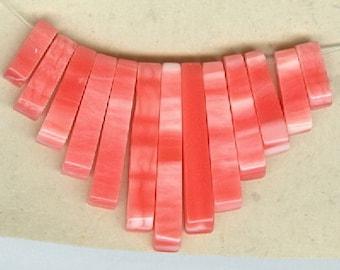 Pink Shell Mini Egyptian Cleopatra Collar Fan Beads 13 Piece Graduated Stick Spike Bead Set