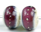 Amethyst Band On Ivory Lampwork Bead Pair with Fine Silver