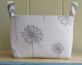 Fabric Storage Bin- Organizer- Basket- Dandelions- Gray- White