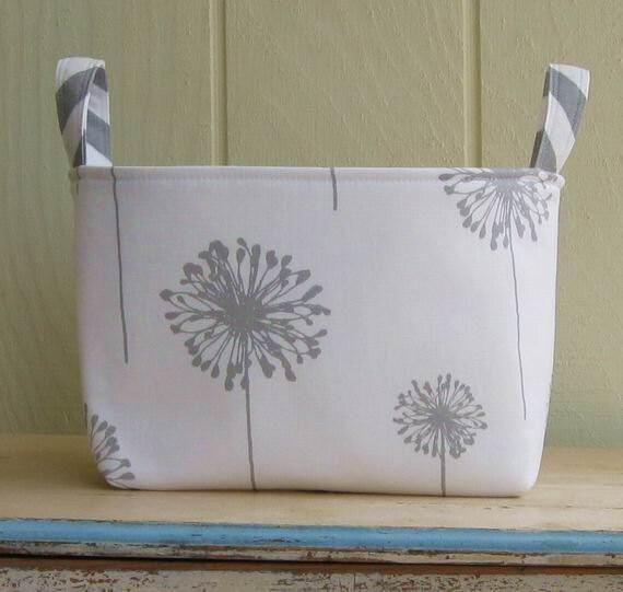 Beautiful Fabric Storage Bin Organizer Basket Dandelions Gray White With  Cloth Storage Bins