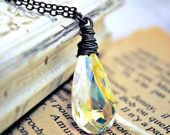 Swarovski Crystal Necklace, AB Clear Crystal Wire Wrapped Glass Pendant, BGBjewelry