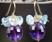 Purple Amethyst Blue Topaz Gemstone Earrings, 14K Gold Filled, Wire Wrapped Faceted Stones