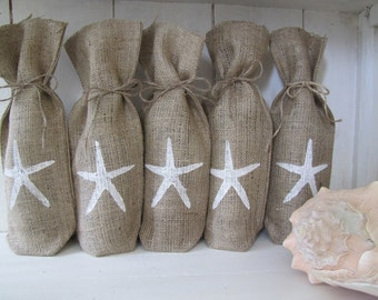 1 10 Starfish and Numbered Burlap Wine Bags, Wedding Table Numbers, Wedding Favors