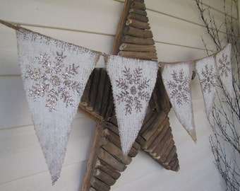 Snowflake Burlap Banner Garland Bunting Decoration Pennant...winter whites...white christmas