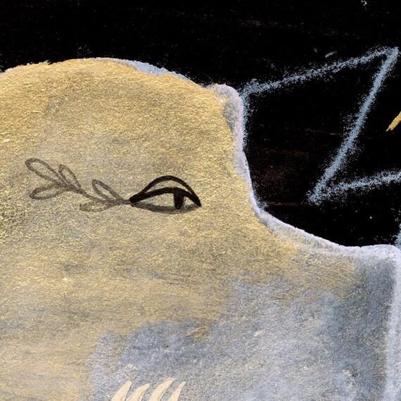 Bird Mask on black Monster Monoprint