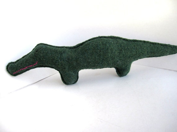 Dark Green Alligator - Recycled Wool Plush Toy