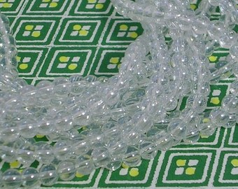 "Glass Beads CLOSEOUT SALE (GB58A) 4mm Clear Round FIVE 11"" Strands about 80 Glass Beads per Strand"