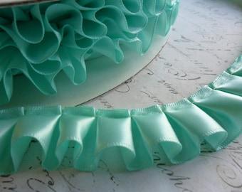 Aqua Satin Box Pleat  Ruffle Trim 7/8 inch