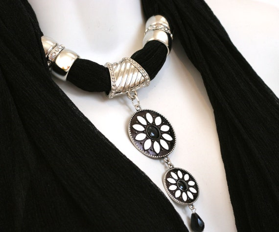 black scarf jewelry scarves with pendants necklace