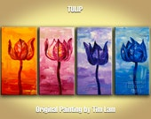 Original modern Large Abstract flower art Contemporary red yellow blue purple tulip poppies still life painting by Tim Lam 52x24