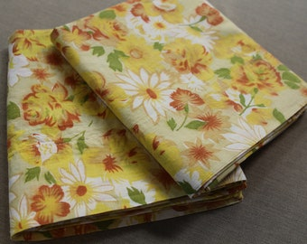 Yellow Floral Pillow Cases - New - Unused - All Cotton - Full - Queen