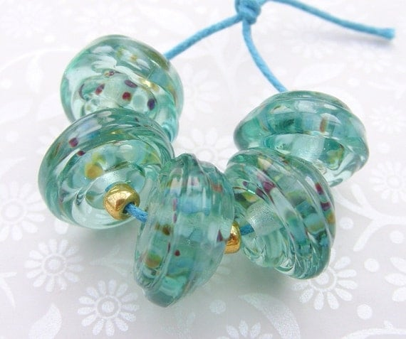 Victorian Sea Shores  Lampwork Glass Beads