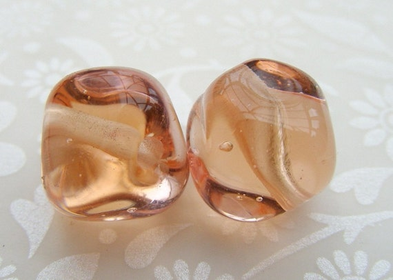 English Tea Rose Nugget Lampwork Beads
