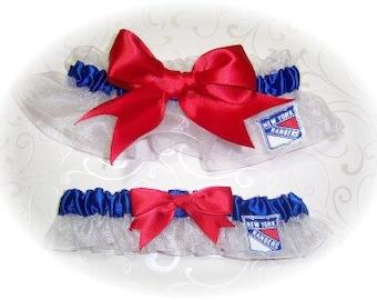New York Rangers Wedding Garter Set    Handmade   Keepsake and Toss Bridal  wrr