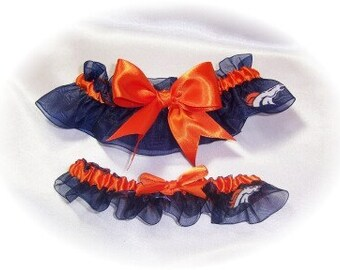 Denver Broncos Wedding Garter Set   Handmade  Bridal    Keepsake and Toss    noo
