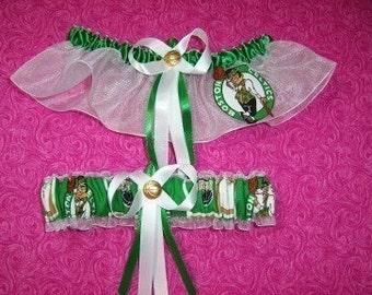 Boston Celtics Wedding Garter Set   Handmade   Keepsake and Toss