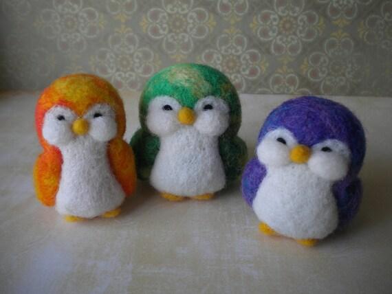 Tie Dye Trio  Felted Penguins - Set of Three