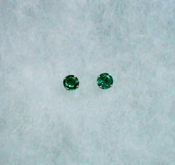 4mm Green Cubic Zirconias in Sterling Silver Stud Earrings