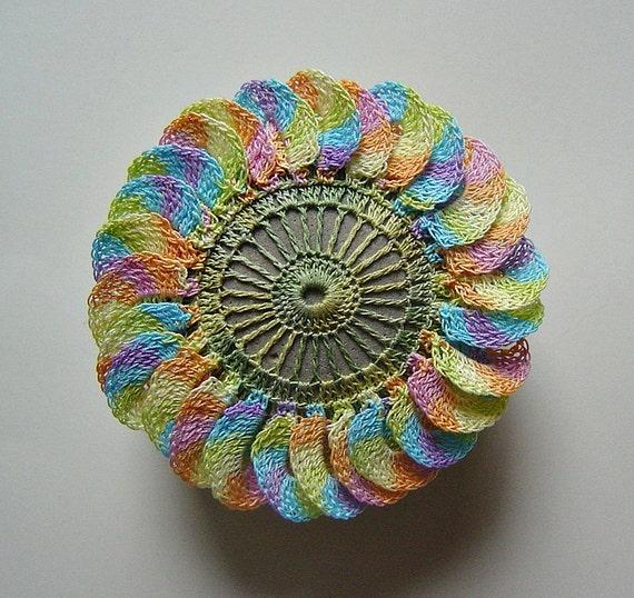 Flower Stone, Crochet Lace, Original, Handmade, Table Decorations, Home Decor,  Art Object, 3D, Rainbow, Green