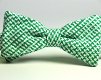Boy's Bow Tie - Kelly Green Houndstooth Bowtie