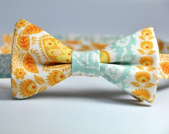 Orange and Blue Paisley Boy's Bow Tie