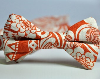 Boy's Bow Tie Orange and Cream Tribal Floral