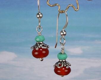 BLOSSOM - Earrings Carnelian, Turquoise, Sterling Silver