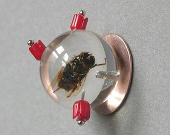 On Sale Marked Down Queen Bee Brooch Made With Real Insect In Resin Orb