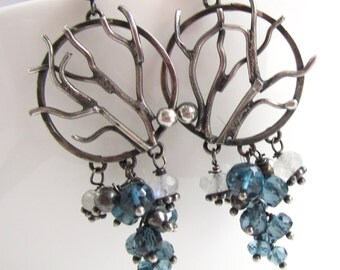 Sterling Winter Trees and London Blue Topaz Earrings