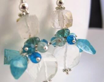 Spiral Quartz and Apatite Earrings