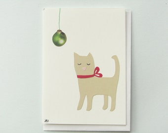 Holiday ball of yarn - papercut collage card