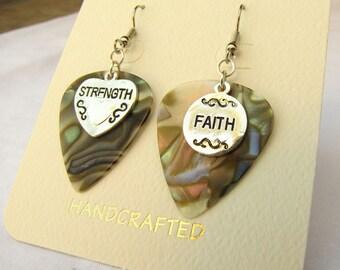 Genuine Fender guitar pick and charm earrings - Strength Faith