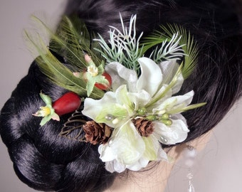 Green  and White Woodsy Winter Flower with Feathers Hair Pin Clip Fascinator