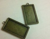 5 Bronze Pendant Trays -over 2 inches long -Vertical Rectangle Extra Large Blank