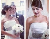 Pola modern crystal cluster flower bridal sash, crystal bridal belt